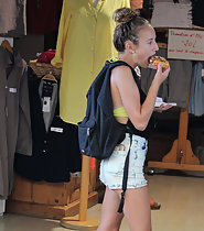Hungry girl in sexy shorts