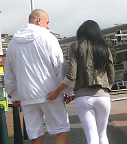 Incredible ass in white tights