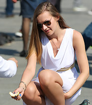 Tourist girl in see through skirt
