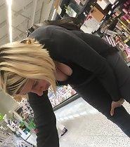 Big tits in supermarket