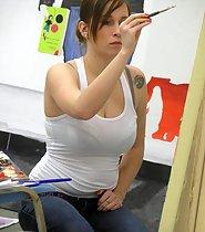 Sexy painter got big boobs