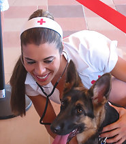 Hostess dressed as sexy nurse