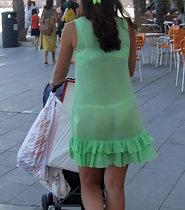 Slutty milf in fully transparent dress