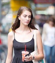 Gorgeous girl in semi transparent dress