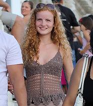 Ginger girl in tight shorts