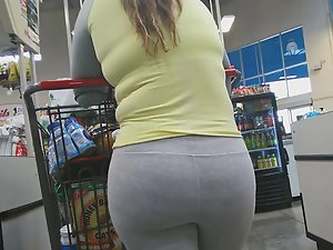 Chubby girl got huge butt in grey tights