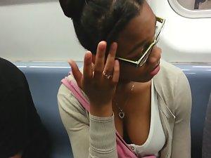 Big chocolate boobs in train