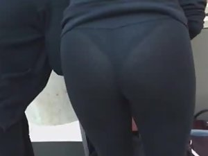 Sexy lace thong in tight leggings