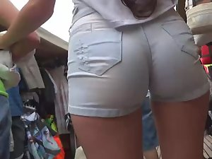 Hottest ass in shorts a voyeur ever saw