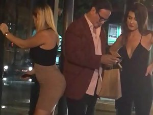 Spying on sugar daddy with two girls