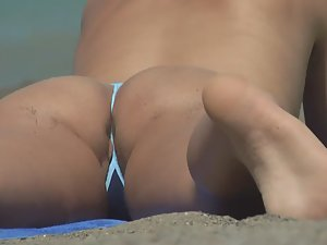 Pussy lips and asshole slip from bikini Picture 5