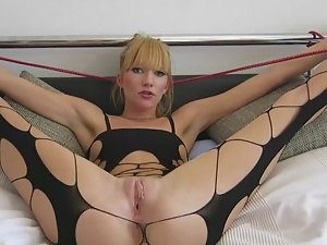 Blonde gets hogtied and fucked hard
