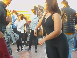 Chubby girl dances salsa