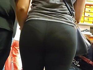 Thong seen inside curvy milf's big butt crack