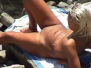 Spying on a sunbathing woman