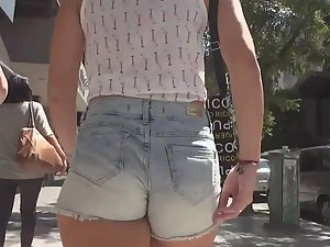 Shorty with cutoff shorts pulled inside ass crack