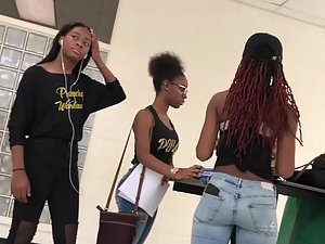 Peeping on sexy group of black schoolgirls