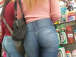 Perfect ass of a hot blonde in the store