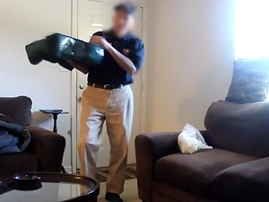 Pizza delivery man rubs lotion on naked woman Picture 2