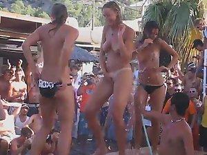 Slutty girls dancing on a beach party