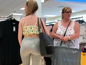 Sexy daughter shopping around with fat mother