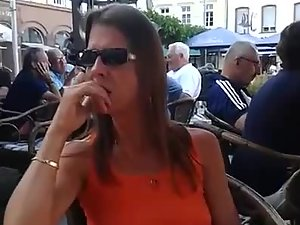 Wife flashing pussy in crowded coffee bar