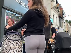 Thong on young milf's plump ass