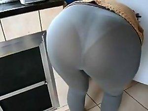 Peeping through dear wife's leggings