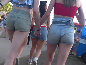 Adorable teen lesbians holding hands in public