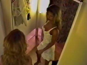 Hidden camera caught her pose in the mirror