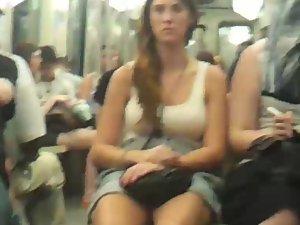 Busty girl in a tank top shirt