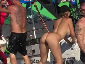 Wild girl twerking her hot ass on a boat party