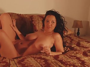 Horny pussycat plays in bed Picture 5