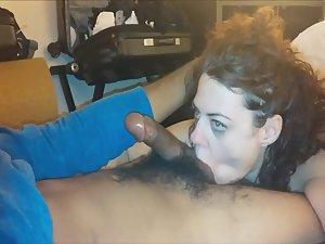 Wife sucks our dark friend's dick