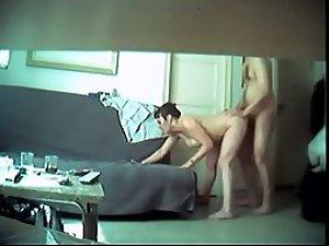 Hidden cam caught a standing home sex