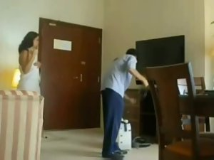 Hot woman flaunts the hotel service guy Picture 2