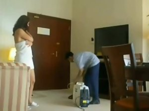 Hot woman flaunts the hotel service guy Picture 4