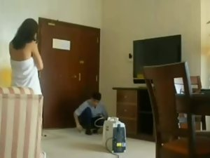 Hot woman flaunts the hotel service guy Picture 8