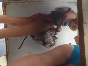 Teen girl pisses on her friend Picture 1