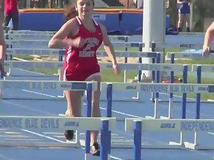 Running with hurdles and big boobs