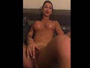 Hot sex with amazing bimbo and cum on fake tits