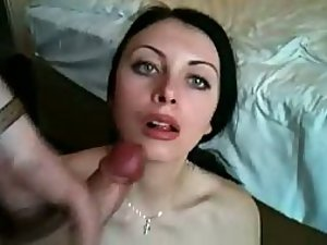 Slutty girl gets cum in her mouth