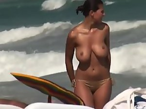 Funky boobs of a topless woman