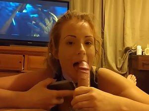 Cheating girl sucks dick and talks on phone