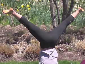 Yoga girls exercise in the park