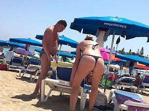 Fit blonde milf in sexy thong bikini Picture 2