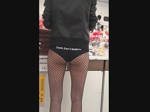 Sexy hostess in fishnets got amazing gap between thighs