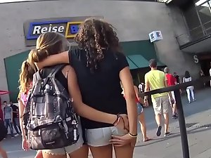 Teens walking and groping each other