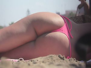 Meditating with hot ass in pink bikini