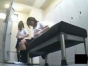 Japanese girls in the school locker room